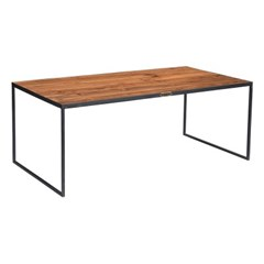 IRON COFFEE TABLE WITH TEAK TOP