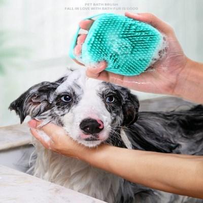 묘심견심 고양이 강아지 목욕브러시 샴푸빗 블루