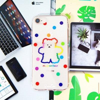 아이폰7 8 SE2 레인보우 곰돌이 투명 젤리 케이스