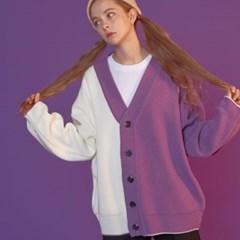 [블론드나인] Half Half Knit Cardigan_PURPLE
