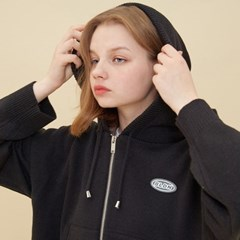 [블론드나인] CROP KNIT HOOD ZIP-UP_BLACK