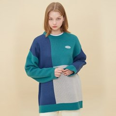 [블론드나인] MOSAIC COLORATION SWEATER_MINT