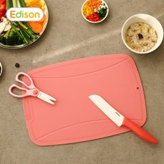 아기 이유식준비물 세라믹칼 가위 TPU도마 핑크