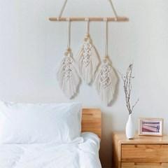 나무잎 네츄럴 마크라메 월행잉 태피스트리 벽장식