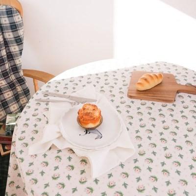 핑크 로즈 가든 면 식탁보 테이블보 덮개