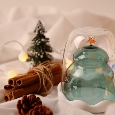 크리스마스 트리 이중 내열 유리컵(선물포장)