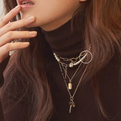 [Silver 925] 하프 앤 하프 에버 진주 목걸이