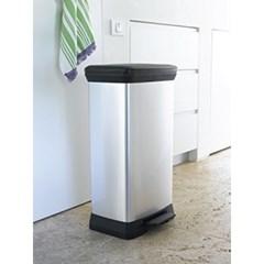 커버 데코빈 페달식 사각형 휴지통(50리터) 플라스틱휴지통 쓰레기통