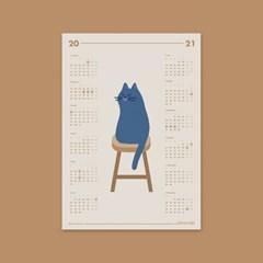 고양이 일러스트 2021년 캘린더 / A3 포스터 (연력)