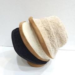 챙넓은 말림 무스탕 뽀글이 양털 버킷햇 벙거지 모자