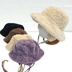 턱끈 파스텔 무스탕 양털 뽀글이 버킷햇 벙거지 모자