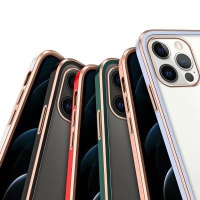 하푼 아이폰 12 골드 라인 큐브 슬림핏 케이스