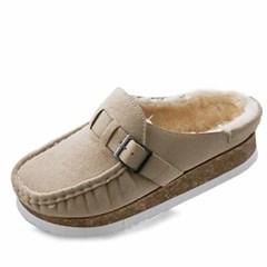 kami et muse Suede belt fur slippers_KM20w256