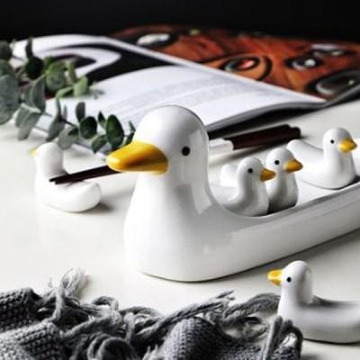 세라믹 수저받침 귀여운 오리가족 인테리어 장식소품