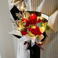 LED포인세티아한송이꽃다발 35cmP 조화 꽃다발 FMBBFT