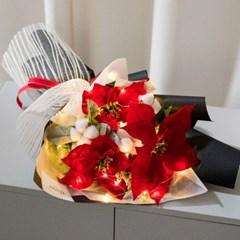 LED포인세티아목화꽃다발 54cmP 조화 꽃다발 FMBBFT