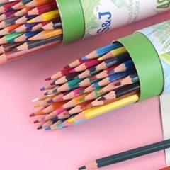 선명하고 매끄러운 발색 원형 케이스 색연필 5종