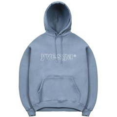 Embroidery Hooded Sweatshirt_Blue Gray