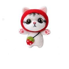 펫돌 양모펠트 DIY KIT 딸기 고양이 냥이 니들펠트 패키지 세트
