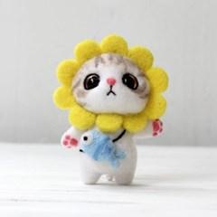 펫돌 양모펠트 DIY KIT 해바라기 고양이 냥이 니들펠트 패키지 세트