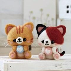 펫돌 하마나카 양모펠트 DIY키트 미케&다토라 고양이 441-427