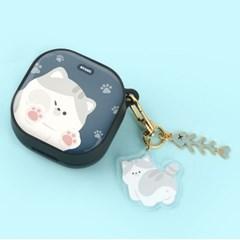 고양이 냥이 에폭시 하드 갤럭시 버즈 라이브 프로 케이스+냥이 키링