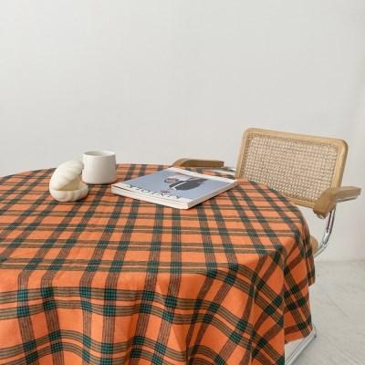 라이브 오렌지 빈티지 체크 패턴 테이블보 식탁보