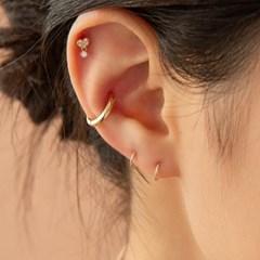14k gold Inner-conch bold ring earring (14k 골드) w08