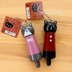 나고미 고양이 목제 마시지봉 키홀더 (2design)