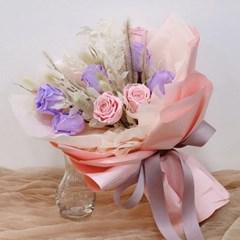 프리저브드 분홍&보라 장미 꽃다발