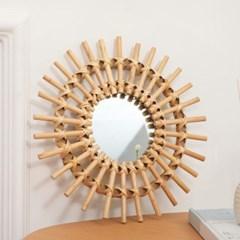라탄 거실 침실 인테리어 벽걸이 거울 40cm 중형