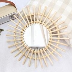 라탄 거실 침실 인테리어 벽걸이 거울 60cm 대형