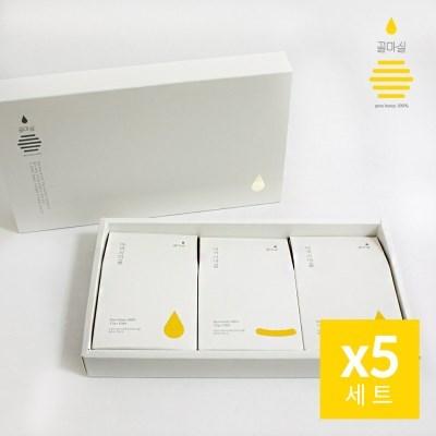 [꿀마실] 천연벌꿀 스틱 3종 선물세트 12gx30포x5세트 + 쇼핑백
