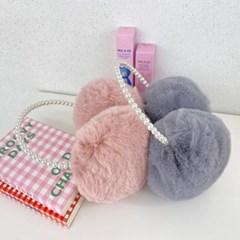 진주 핑크 베이지 데일리 방한 밍크 퍼 패션 귀마개