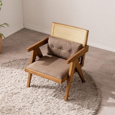 네모 라탄 라운지 의자 (내츄럴/브라운)