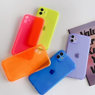 아이폰12 미니 프로 맥스 카메라보호 컬러 투명 젤리 케이스