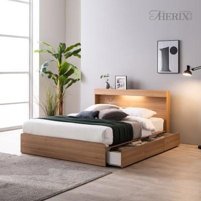 디칸토 LED 조명 원룸 수납 침대프레임 슈퍼싱글(SS)