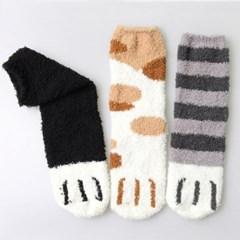 [무료배송] 고양이 젤리 수면양말 3족 세트 (블랙,화이트,차콜)