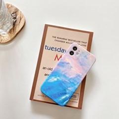 아이폰12 카메라보호 실리콘 풀커버 케이스 핑크 블루 이모션