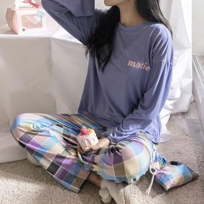 데일리 체크 면 잠옷 세트