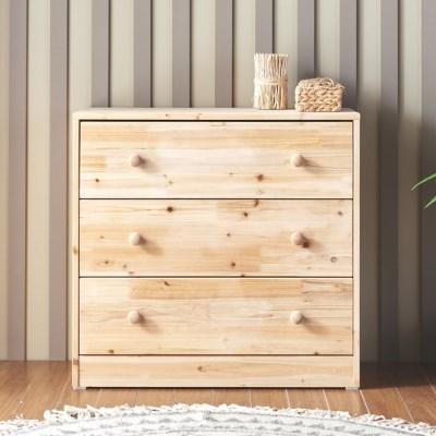 [에띠안]데니우드 780 와이드 삼나무 원목 3단 서랍장