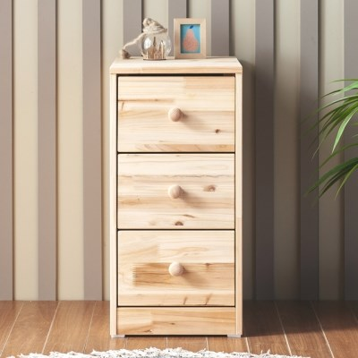 [에띠안]데니우드 삼나무 원목 3단 슬림 틈새 서랍장 침실 협탁