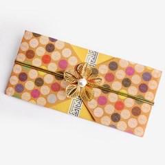 전통 구슬패턴 황색 돈 봉투 (2set)
