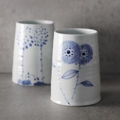 푸른꽃 도자기 수저통 2color