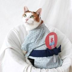 블루 유카타 기모노 고양이옷 강아지옷 설빔 할로윈 선물 MIYOPET
