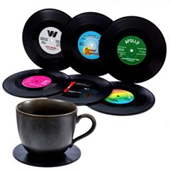 레트로 레코드 모양 컵받침 코스터 6p set