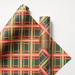 Holiday Plaid Wrapping 3 Sheets 포장지