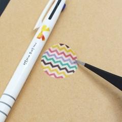 일자형스티커다꾸핀셋+삼색볼펜세트
