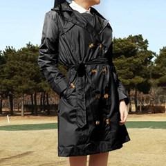 여성 골프우의 방수 바람막이 비옷 레인코트 트렌치코트 블랙