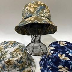 꽃무늬 블루 챙넓은 패션 꾸안꾸 버킷햇 벙거지 모자